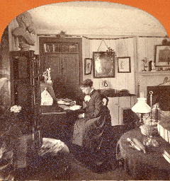 Louisa Alcott Working at Her Desk
